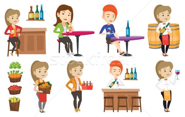 Vector set of people eating and drinking. Stock photo © RAStudio