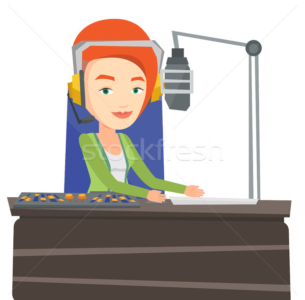 Kadın çalışma radyo mikrofon bilgisayar konsol Stok fotoğraf © RAStudio