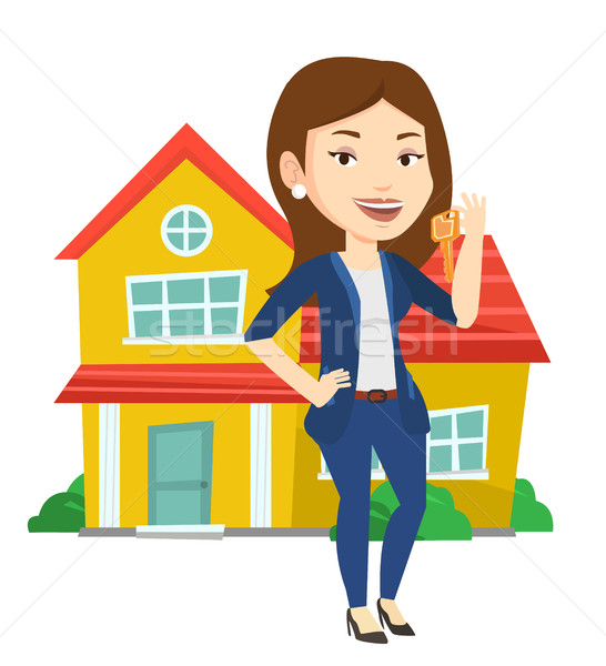 Real estate agent with key vector illustration. Stock photo © RAStudio