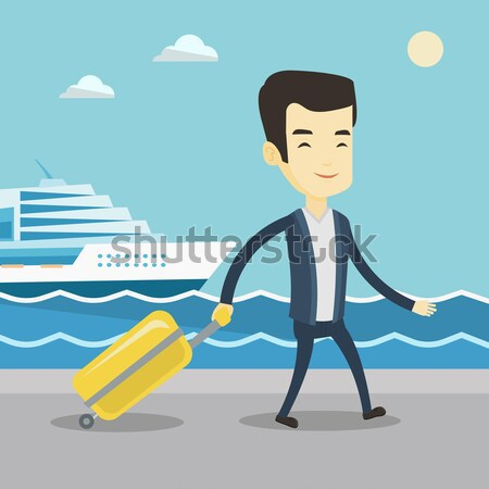 Passenger with suitcase going to shipboard. Stock photo © RAStudio