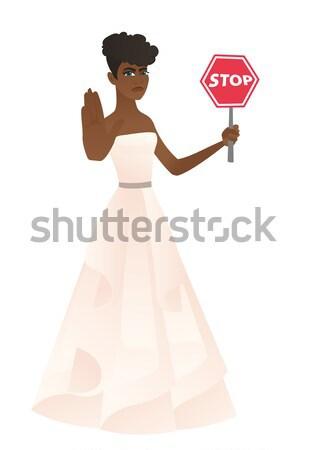 Asian verloofde stoppen verkeersbord witte jurk Stockfoto © RAStudio