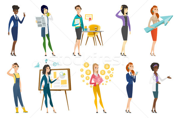Business woman, stewardess, doctor profession set. Stock photo © RAStudio