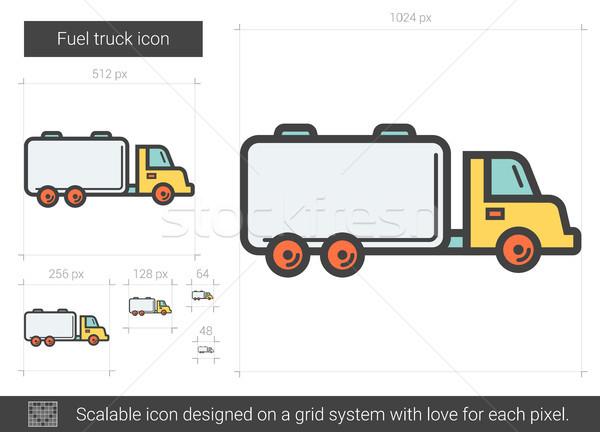 Carburant camion ligne icône vecteur isolé Photo stock © RAStudio