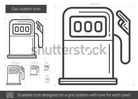 Tankstation lijn icon vector geïsoleerd witte Stockfoto © RAStudio