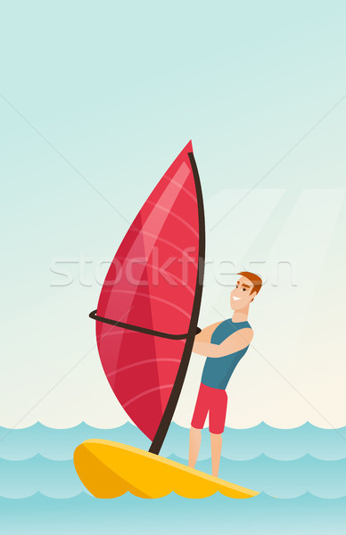 Fiatal kaukázusi férfi windszörf tenger áll Stock fotó © RAStudio