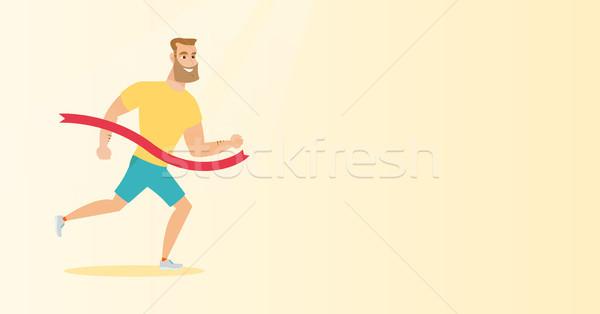 Fiatal kaukázusi sportoló célszalag derűs hipszter Stock fotó © RAStudio