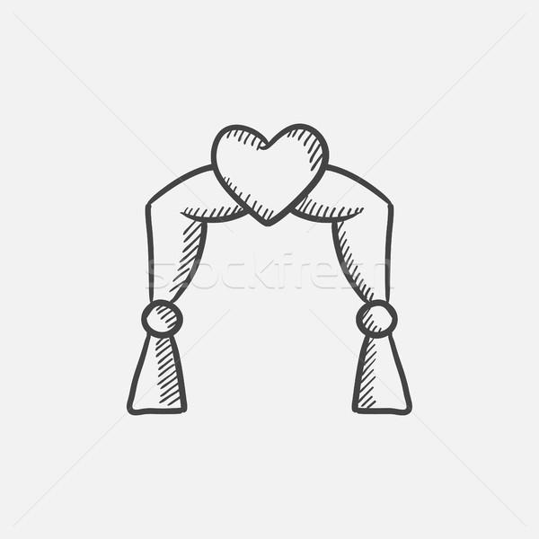 Esküvő ív rajz ikon háló mobil Stock fotó © RAStudio