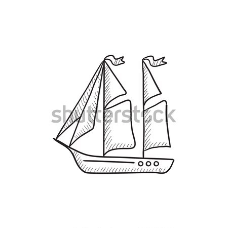 Sailboat sketch icon. Stock photo © RAStudio