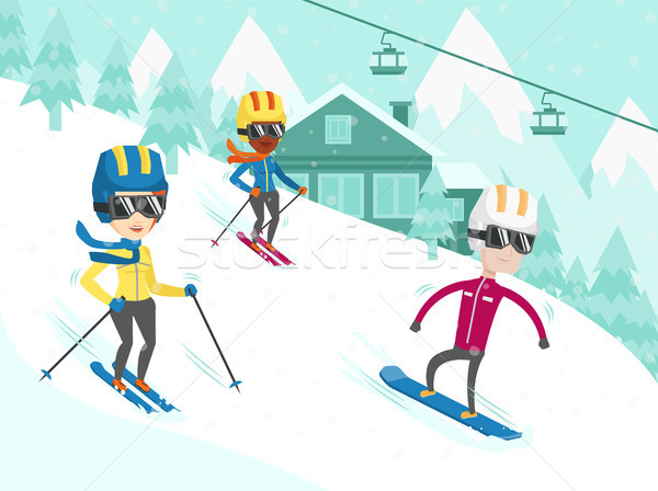 Multicultural people skiing and snowboarding. Stock photo © RAStudio