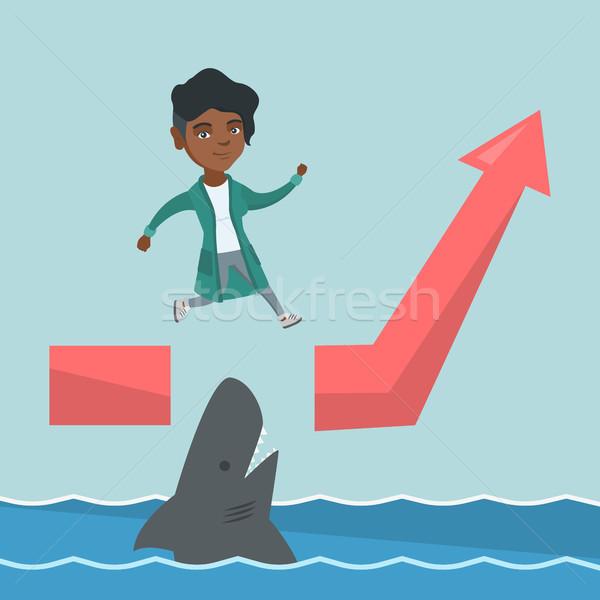 ビジネス女性 ジャンプ 海 サメ 小さな 危険な ストックフォト © RAStudio