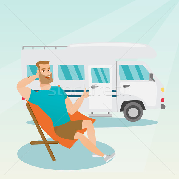 Férfi ül szék lakókocsi furgon fiatal Stock fotó © RAStudio