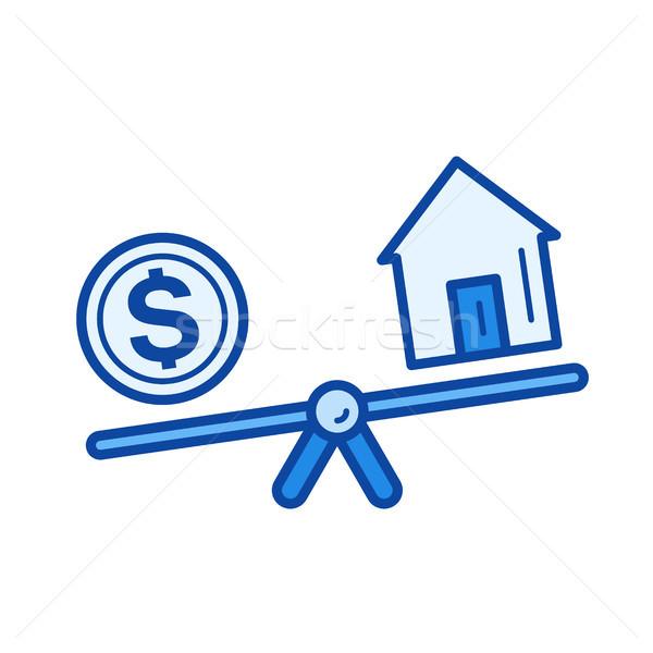 недвижимости заем линия икона вектора изолированный Сток-фото © RAStudio