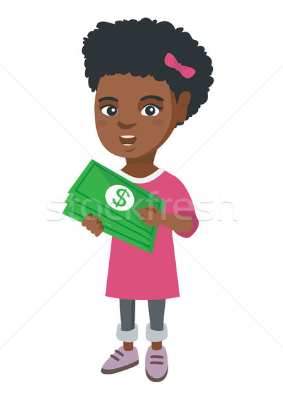 African-american girl holding money in hands. Stock photo © RAStudio