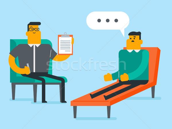 Caucasian psychologist having session with patient Stock photo © RAStudio