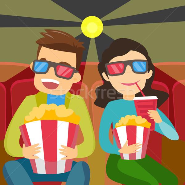 Caucasian friends in 3d glasses watching movie. Stock photo © RAStudio