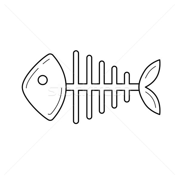 Rotten fish skeleton vector line icon. Stock photo © RAStudio