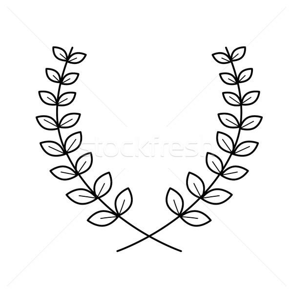 Laurel corona vector línea icono aislado Foto stock © RAStudio
