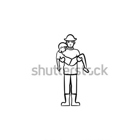 Strong fireman rescuing a person sketch icon. Stock photo © RAStudio
