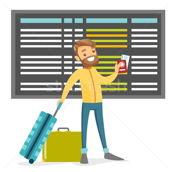 Homme blanc passeport bagages aéroport calendrier Photo stock © RAStudio