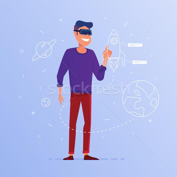 A caucasian man in VR headset launching start up. Stock photo © RAStudio