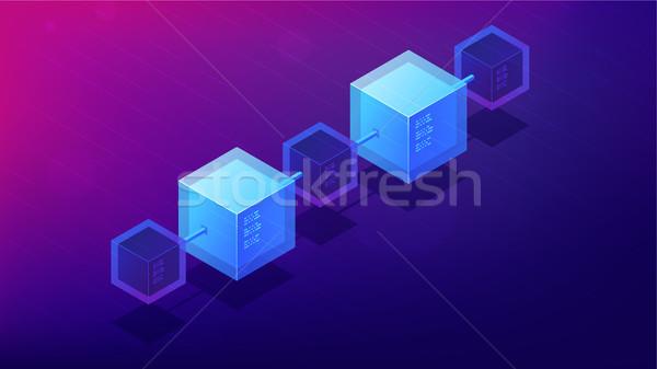 Isometric blockchain network architecture concept. Stock photo © RAStudio