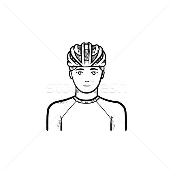 Man in bicycle helmet hand drawn outline doodle icon. Stock photo © RAStudio