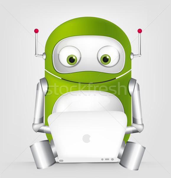 Aranyos robot rajzfilmfigura izolált szürke gradiens Stock fotó © RAStudio
