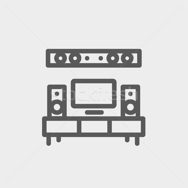 Foto stock: Tv · tela · plana · casa · teatro · fino · linha