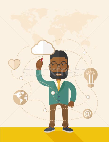 Black man holding a pen making his presentation on glass board. Stock photo © RAStudio
