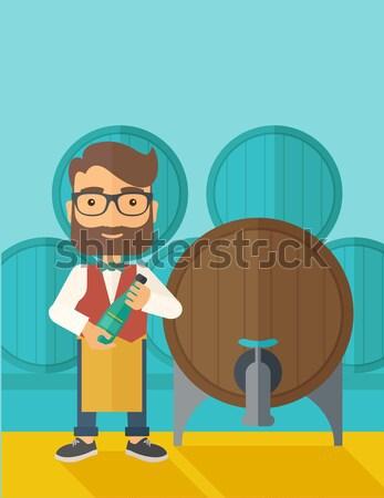 Wein Barrel stehen tragen Schürze halten Stock foto © RAStudio