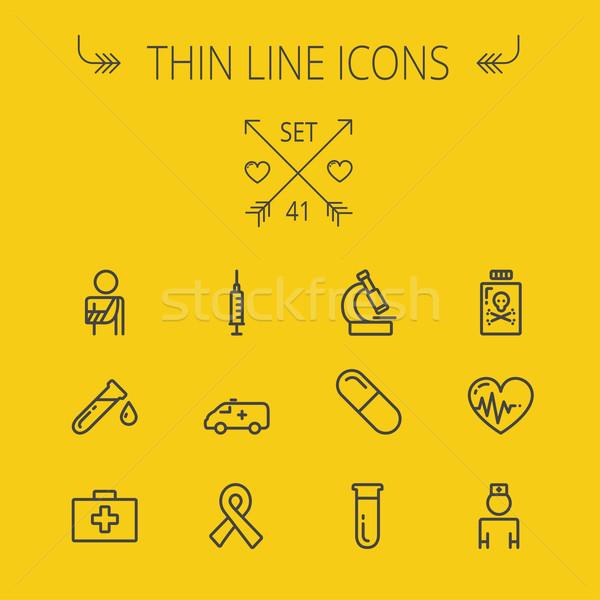 Stockfoto: Geneeskunde · dun · lijn · web · mobiele