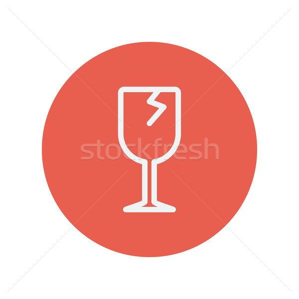 Broken glass wine. Fragile sign. thin line icon Stock photo © RAStudio