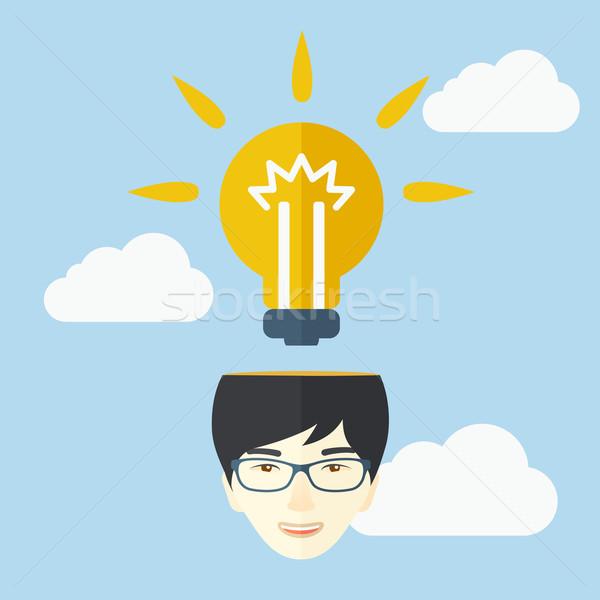 üzletember fényes ötlet kínai marketing stratégia villanykörte Stock fotó © RAStudio