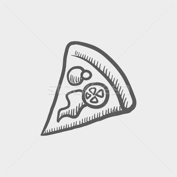 Pizza slice schets icon web mobiele Stockfoto © RAStudio