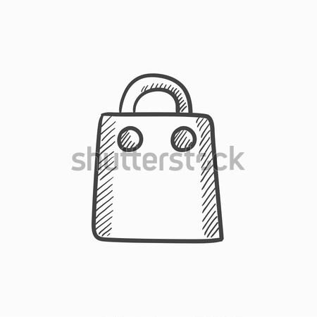 Stock fotó: Bevásárlószatyor · rajz · ikon · háló · mobil · kézzel · rajzolt