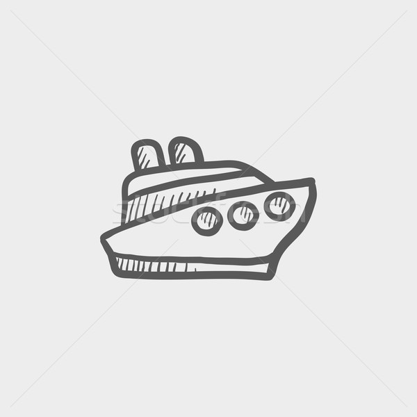 Cruiseschip schets icon web mobiele Stockfoto © RAStudio
