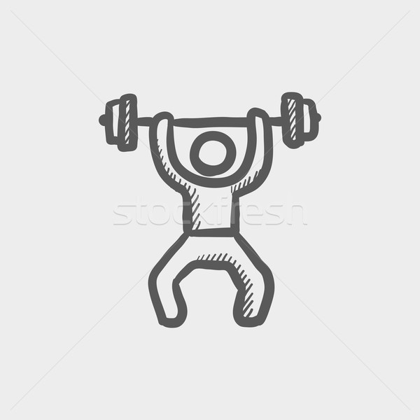 Weightlifter man with barbell sketch icon Stock photo © RAStudio