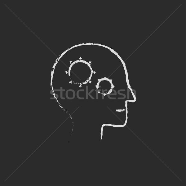 Emberi fej viselet ikon rajzolt kréta Stock fotó © RAStudio