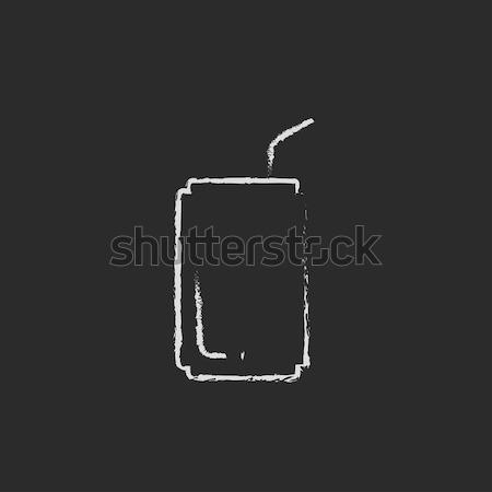 Pitnej słomy ikona kredy Zdjęcia stock © RAStudio