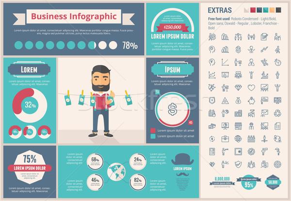 Stock fotó: üzlet · terv · infografika · sablon · elemek · illusztrációk