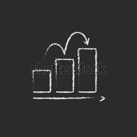 Staafdiagram icon krijt Blackboard Stockfoto © RAStudio