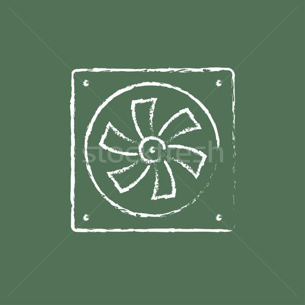Computer cooler icon drawn in chalk. Stock photo © RAStudio