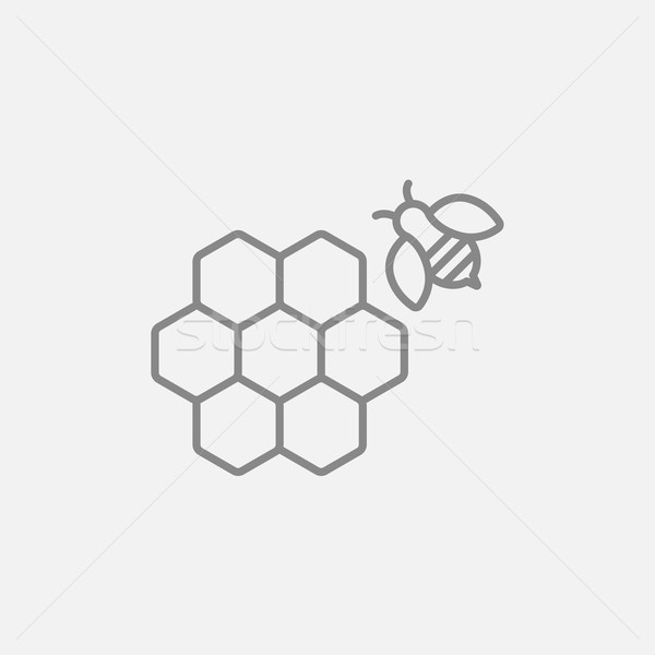 Honingraat bee lijn icon web mobiele Stockfoto © RAStudio