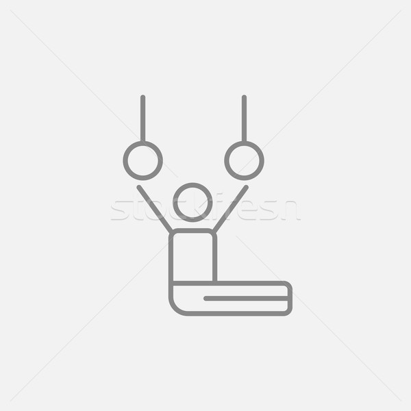 Stock photo: Gymnast performing on stationary rings line icon.