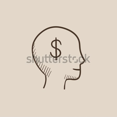 Stock photo: Human head with dollar symbol line icon.
