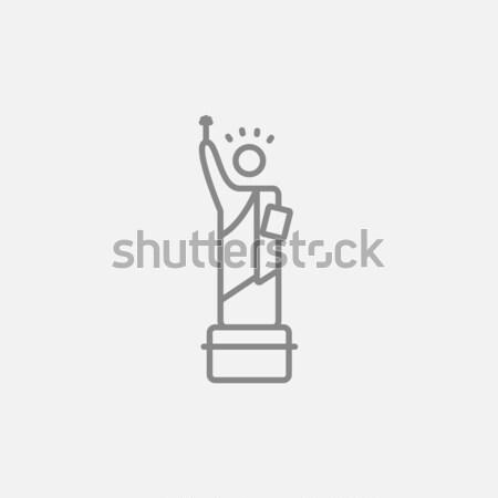 Szobor hörcsög vonal ikon háló mobil Stock fotó © RAStudio