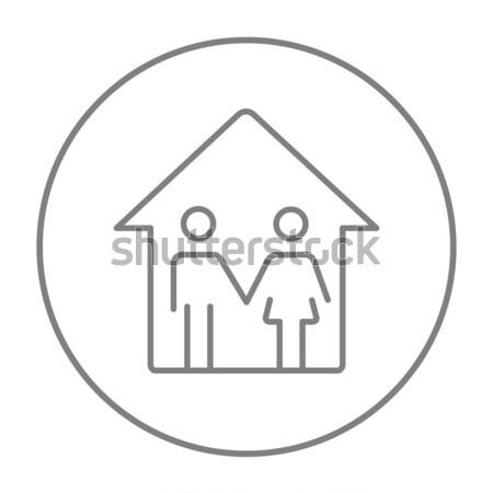 Сток-фото: семьи · дома · линия · икона · веб · мобильных