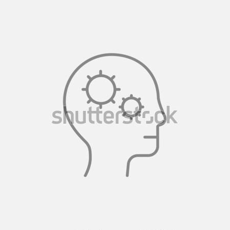 Human head with gear line icon. Stock photo © RAStudio