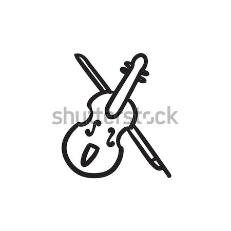 Hegedű íj vonal ikon háló mobil Stock fotó © RAStudio
