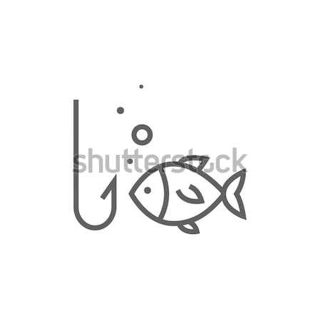 Fish with hook line icon. Stock photo © RAStudio
